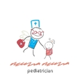 pediatrician flies to a sick child vector image