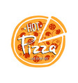 pizza logo on white background vector image vector image