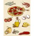 Pizza sketch set vector image