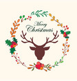reindeer christmas floral wreath with quote design vector image