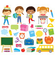 school kids and supply vector image