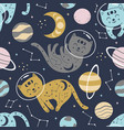 seamless pattern with celestial cats in space vector image