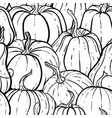 seamless pattern with pumpkin black and white vector image vector image