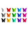 set fifteen colored paper butterflies vector image