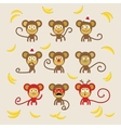 Set of cartoon monkeys vector image