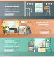set of working horizontal banners in flat vector image vector image