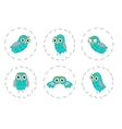 Set owl birds isolated on white background vector image vector image