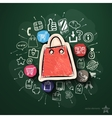 Shopping collage with icons on blackboard vector image vector image
