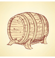 Sketch wine barrel in vintage style vector image vector image