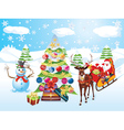 Snowman with Christmas Tree2 vector image vector image