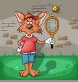 the wolf very hard playing tennis vector image
