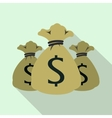 Three money bag or sacks icon flat style vector image