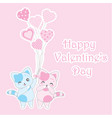 valentines day with cute blue and pink cats vector image vector image