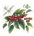 Watercolor coffee collection vector image vector image