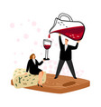 woman and wine tasting concept vector image