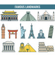 world landmarks travel and tourism vector image vector image