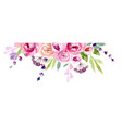 wreath of flowers in watercolor vector image vector image