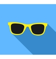 Yellow Sunglasses icon with long shadow Flat vector image