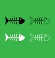 fish sceleton icon black and white color set vector image