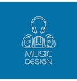Music design with recorder and earphones vector image