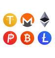 set of cryptocurrency coins icons symbols vector image