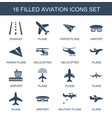 16 aviation icons vector image vector image
