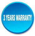 3 years warranty blue round flat isolated push vector image vector image