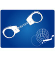 3d model of grenades and handcuffs on a blue vector image vector image