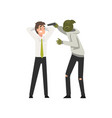 bank robbery masked male criminal threatening vector image vector image