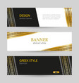 banner black and white with greek gold ornament vector image vector image