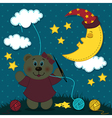 bear girl sews night vector image vector image