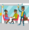 black people traveling by public transport vector image vector image