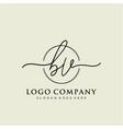 bv initial handwriting logo design vector image vector image