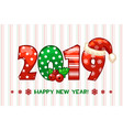cartoon greeting banner in the year 2019 happy vector image