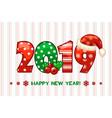 cartoon greeting banner in year 2019 happy vector image vector image