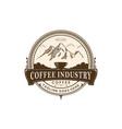 coffee break in mountain badge vector image vector image