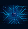 computer processor cpu chip electronic circuit vector image vector image