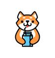 cute shiba inu milk dog cartoon logo icon vector image