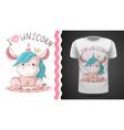 cute teddy unicorn idea for print t-shirt vector image vector image