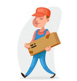deliveryman cargo freight box delivery shipment vector image