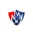 fire shield logo design template vector image