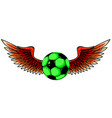 football ball with wings emblem soccer design vector image vector image