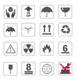 fragile symbol and symbol of packing box icons set vector image vector image