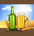 glass green bottle and mug with craft beer vector image vector image