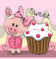greeting card cute pig with cake vector image vector image