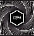 halftone dotted vortex hexagon background vector image