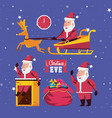 happy merry christmas set icons vector image vector image