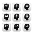Head man thoughts buttons set vector image vector image
