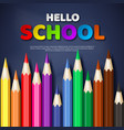 hello school typography design with realistic vector image