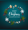 holiday christmas blue design and wreath vector image vector image